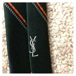 YSL men's striped green neck tie